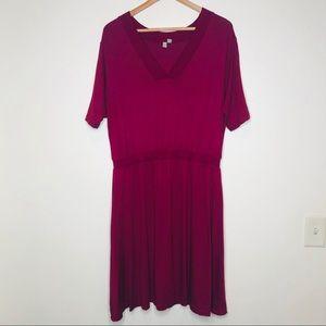 ASOS Cranberry Jersey Knit Blouson Dress V-Neck 14